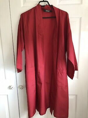 🌈 Vintage St Michael Silky Mens Spotted Red Dressing Gown Robe With Belt Size M