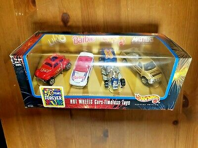 HOT WHEELS 4 CAR SET TIMELESS TOYS W// BARBIE  UNO  MASTERS OF UNIVERSE HW CARS