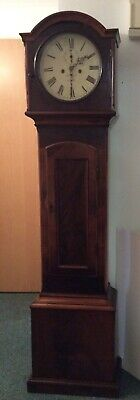 19th C. Flame Mahogany front grandfather clock by Donegan of Dublin