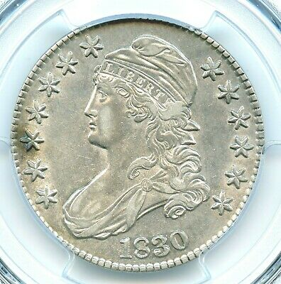 1830 O-119 Medium 0 Capped Bust Half Dollar, PCGS AU53
