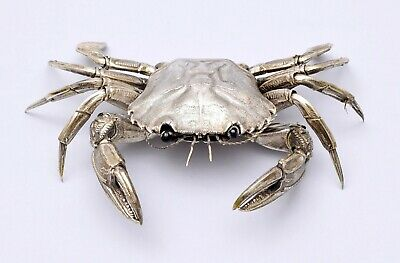 Amazing Solid Silver Box / Salt Cellar Crab. Articulated Figure.