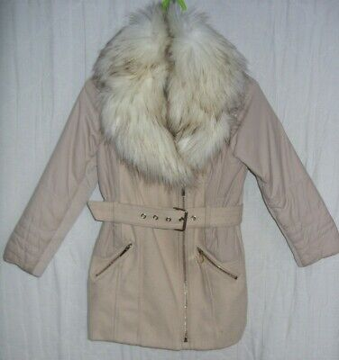 River Island Girls Beige Coat With Fur Size Age 7 Years