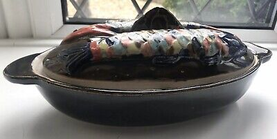 Ceramic Lidded Casserole Dish Brown Glaze With Fish On Lid