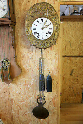 Antique French Morbier Comtoise Clock datable around 1880 repeats the sound