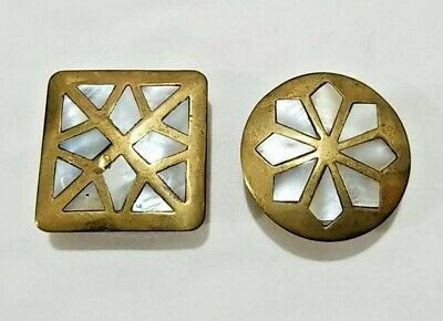 Small Brass & Mother Of Pearl Trinket Pill Boxes Made In India Vintage 1.5""