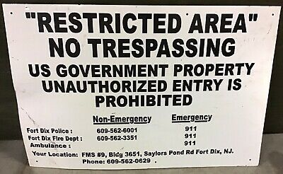 Fort Dix Military Base Restricted Area Sign