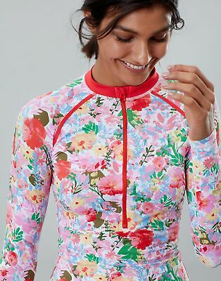 Joules Womens Adrianna Zip Rash Vest in WHITE FLORAL MEADOW Size 8