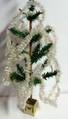 """Vintage Antique Tinsel German Feather Tree Garland Christmas White CHENILLE 210"""""""