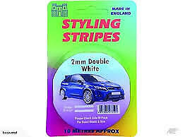 2mm Double White Styling Stripes - 10 Metre Roll of Self-Adhesive Coach Stripe