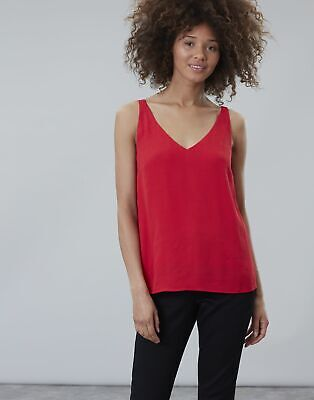 Joules Womens Kyra V Neck Camisole Top in RED Size 18