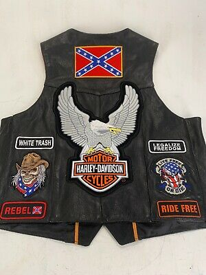 Men's UNIK ULTRA Harley Davidson Patches Leather Biker Motorcycle Vest  Size 48