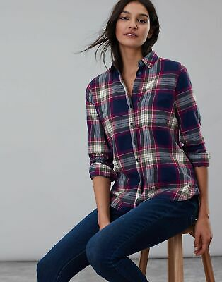 Joules Womens Lorena Longline Brushed Woven Shirt in BERRY CHECK Size 18