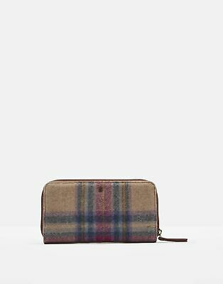 Joules Womens Fairford Tweed Zip Round Purse in MULTI PINK CHECK in One Size