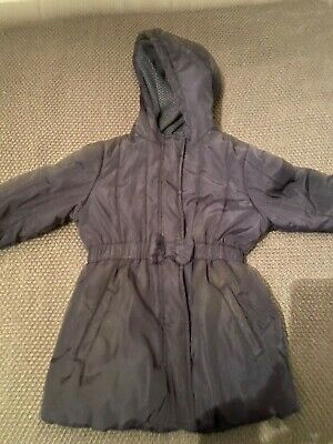 Girls M&S coat navy bow age 3-4 thick