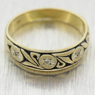1930's Antique Art Deco 14k Yellow Gold Diamond Engraved Band Ring