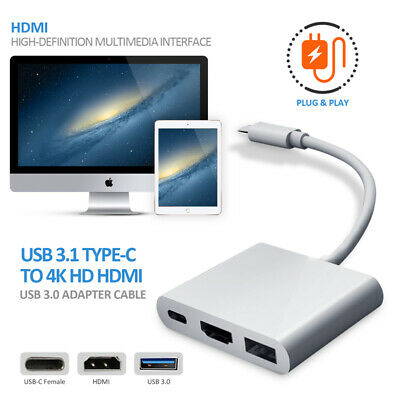 USB 3.1 TypeC to Grey USB-C 4K HDMI USB 3.0 Hub Adapter Cable For Apple Mac 2019
