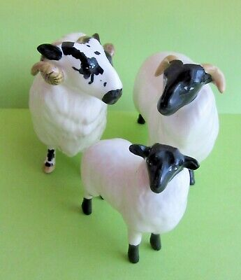 Vintage Set Of 3 Black Faced Sheep Ram Beswick England