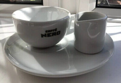 6 Cafe Nero Cups  and Saucer Sets + Cream Jugs NEW