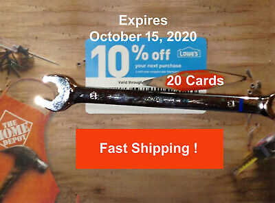 (20) TWENTY Lowes 10% off  for Home Depot only Exp October 15 2020