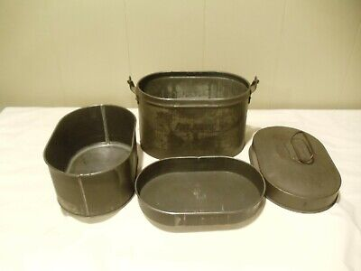 "Coal Miners Mining ""ATLANTIC"" Dinner Bucket Lunch Pail/Box 4 pc"