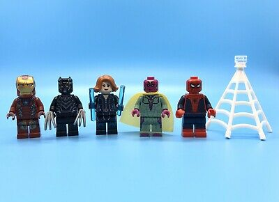 Lego Avengers Minifigs Civil War Iron Man Black Panther Widow Vision Spider-Man