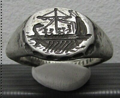 ** GALLEY ** Ancient Legionary Silver Greek Roman Ring ** VERY RARE **