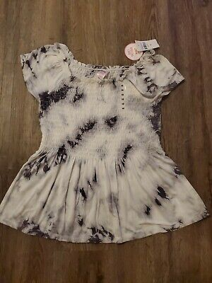 NWT Justice For Girls Shirt Size 10 gray white tie Dye swing top  summer NEW