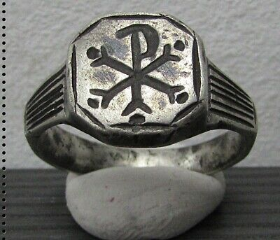 ** CHI-RHO ** Ancient Silver Roman Ring **AMAZING ** RARE **
