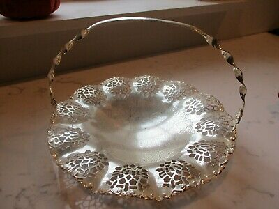 Mayell cut out basket with handle. Made in England/ Stunning/footed