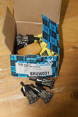"""Lot Of 10 New Pferd Knot End Brushes 1"""" Dia X 1/4"""" Shank 20,000 Rpm Stainless"""