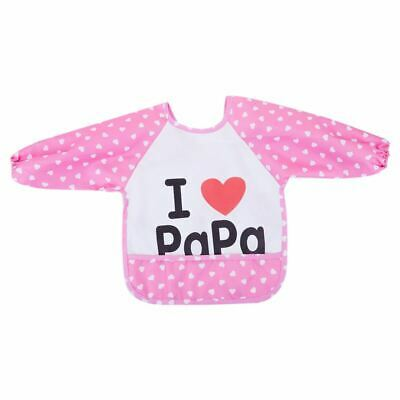 Lovey Cartoon Infant Toddler Baby Waterproof Sleeved Bib Child Feeding Smoc W9O6
