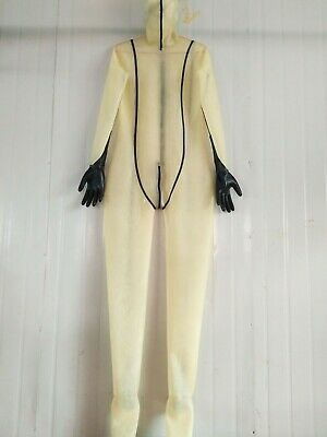 Rubber 100%Latex Catsuit Tigth Overall suit Zentai Gummi 0.4mm Transparent S-XXL