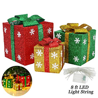 Sunnyglade Set of 3 Christmas Lighted Gift Boxes with Bows Present Boxes for Art