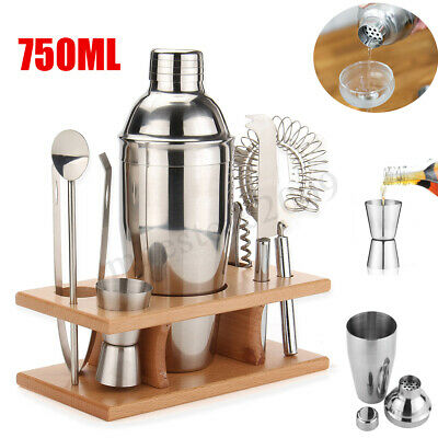 750ml Stainless Steel Cocktail Shaker Mixer Drink Bartender Tools Bar Set