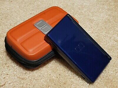 Nintendo DS Lite Launch Edition Cobalt and Black with Orange Carrying Case