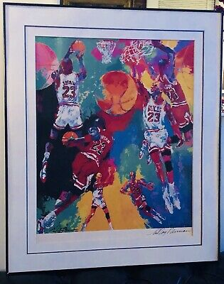 Huge Rare Leroy Neiman Double Signed Michael Jordan Lithograph 32.5 X 27.25