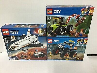 LOT of 3 LEGO CITY 60226,60180,60181 Mars Research,Forest Tractor, Monster Truck