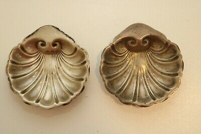 Antique Vintage Pair Scallop Shell Shaped Sterling Silver Salt Cellars .925