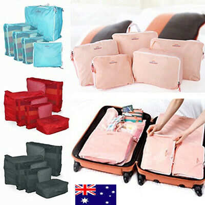 5Pcs Packing Cubes Cube Travel Pouches Luggage Organiser Suitcase Storage Bag YL