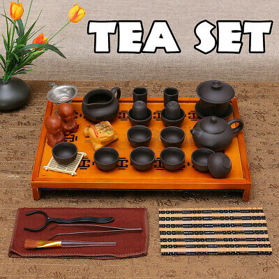 Chinese Kung Fu Tea House Tea Set Ceremony Purple Clay Teapot Cup&Wood Tray Gift