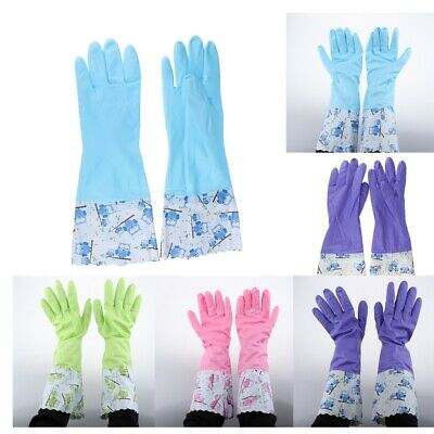 Long Household Rubber Washing Up Cleaning Gloves Flock Lined Kitchen Gloves