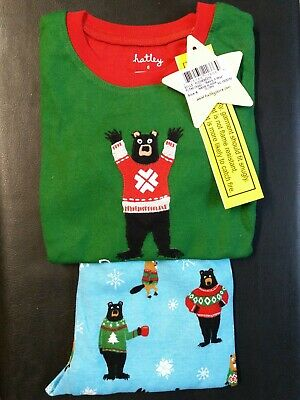 Hatley Beary X-Mas Boys Christmas Pyjamas 100% Cotton 4y pj's BNWT