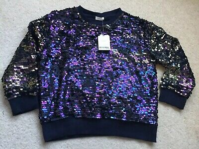 GIRLS SPARKLY PARTY JUMPER SEQUINS AGE 9 Years BNWT £19 NEXT Navy Jumper NEW