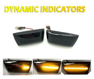 Pair LED Dynamic Sequential Smoked black side repeaters indicators blinkers vaux
