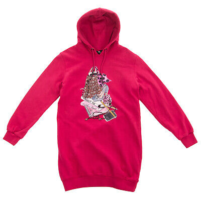 RRP €120 ABOUT ME HANDMADE Sweat Dress Size 5-6Y Embellished Front Hooded
