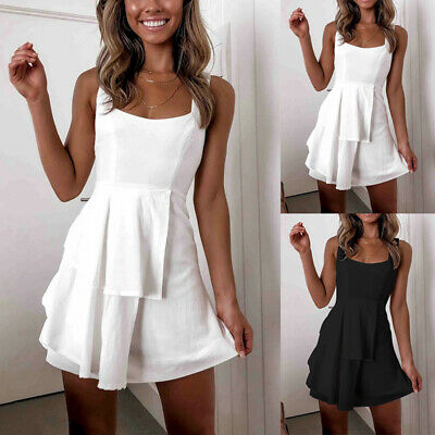 Women Dress Ladies Beach Summer Sleeveless Sexy Fashion Dress Solid Casual