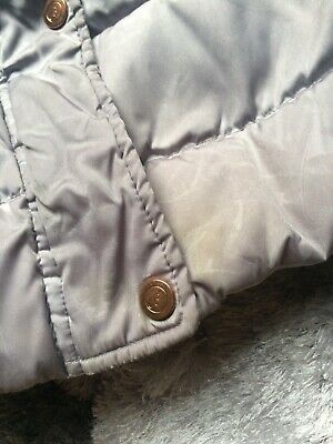 girls baker by ted baker grey padded coat with detachable faux fur age 6 used