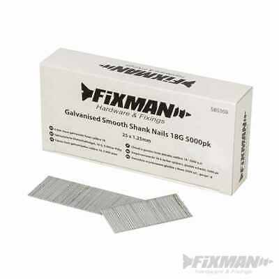 Fixman Galvanised Smooth Shank Nails 18G 5000pk 25 x 1.25mm