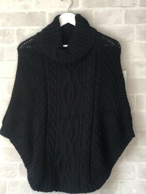 New Ladies Womens Chunky Cable Knit Roll Neck Cape Shawl Jumper Navy Black
