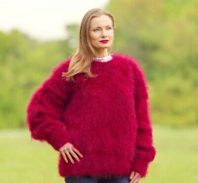 DARK RED FUZZY mohair sweater hand knitted top fluffy thick